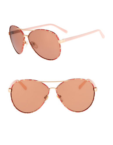 Diane Von Furstenberg Sental 62mm Aviator Sunglasses-ROSE GOLD-One Size