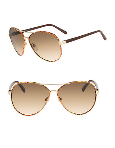 Diane Von Furstenberg Sental 62mm Aviator Sunglasses-GOLD-One Size