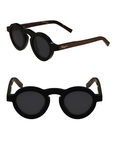 Salvatore Ferragamo 44mm Fashion Round Sunglasses-BLACK-One Size