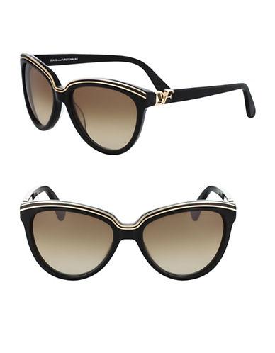 Diane Von Furstenberg 56MM Tortoise Cat-Eye Sunglasses-BLACK-One Size