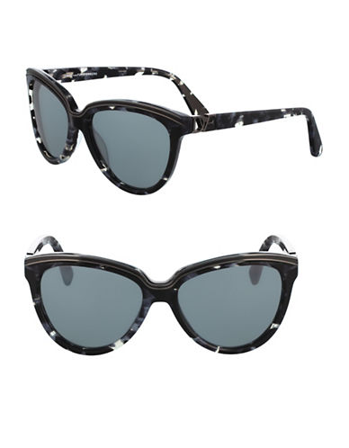 Diane Von Furstenberg 56MM Tortoise Cat-Eye Sunglasses-BLACK/WHITE-One Size
