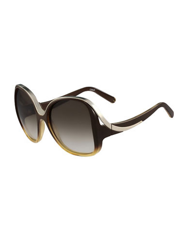 Chloé 59MM Rectangular Sunglasses-BROWN-One Size