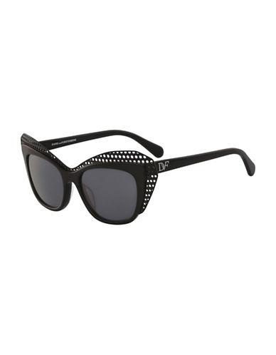 Diane Von Furstenberg Alexa 53MM Cat Eye Sunglasses-BLACK-One Size