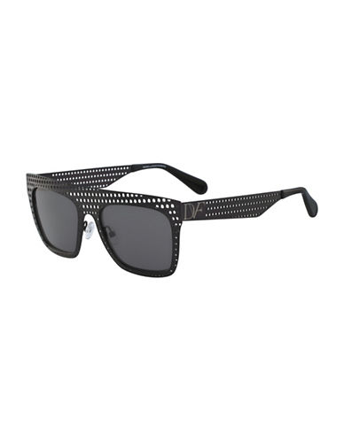 Diane Von Furstenberg Grace 59MM Perforated Square Sunglasses-BLACK-One Size