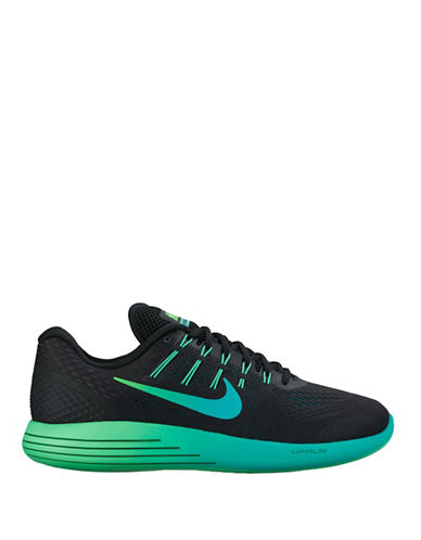 Nike LunarGlide 8 Running Shoes-BLACK/GREEN-8 88528389_BLACK/GREEN_8