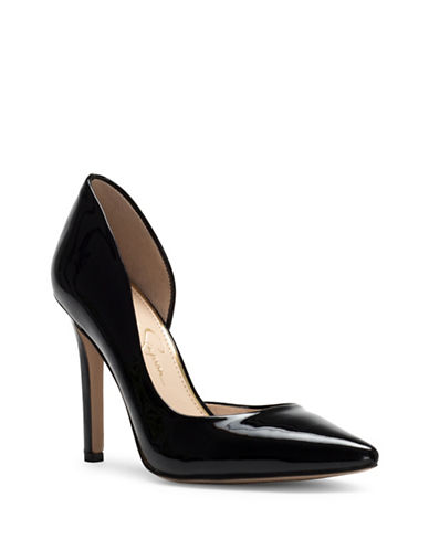Jessica Simpson Claudette Leather Dorsay Pumps-BLACK-8.5
