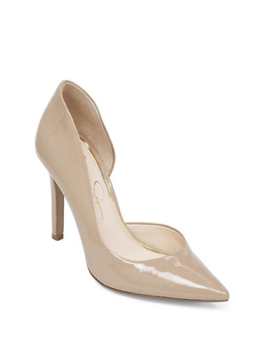 Jessica Simpson Claudette Leather Dorsay Pumps-NUDE-6