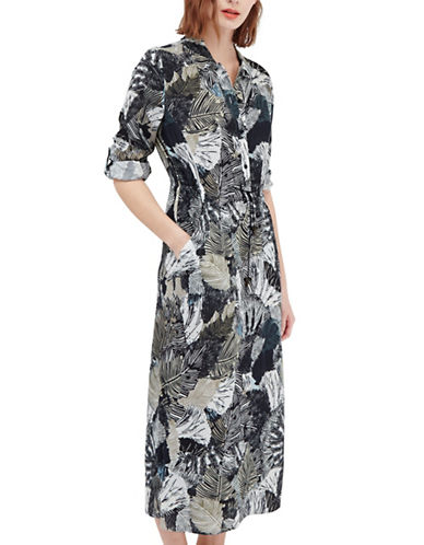 French Connection Palm Print Safari Dress-BLUE-2 88151086_BLUE_2
