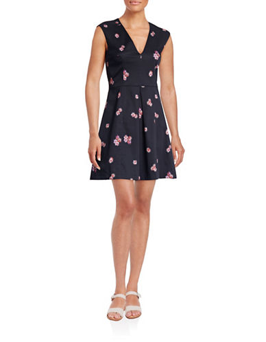 French Connection Floral V-Neck Fit-and-Flare Dress-BLUE-2