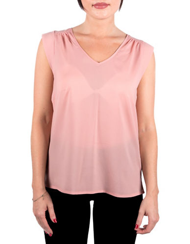 French Connection Polly Plains V-Neck T-Shirt-PINK-Large 88578445_PINK_Large