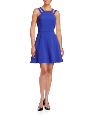 French Connection Double-Strap Halter Dress-BLUE-8