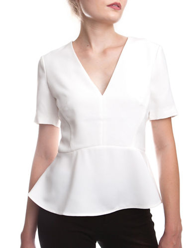 French Connection Arrow Crepe Peplum Top-WHITE-2 88756175_WHITE_2