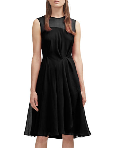 French Connection Asymmetrical Chiffon Dress-BLACK-2 88682732_BLACK_2