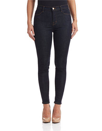 J Brand After Dark High-Rise Skinny Jeans-DARK BLUE-28