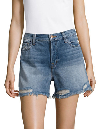 J Brand Ivy High Rise Shorts with Fraying-BLUE-30