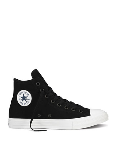 Converse Womens Chuck Taylor All Star II Tencel Canvas Hi-Top Sneakers-BLACK/WHITE-7