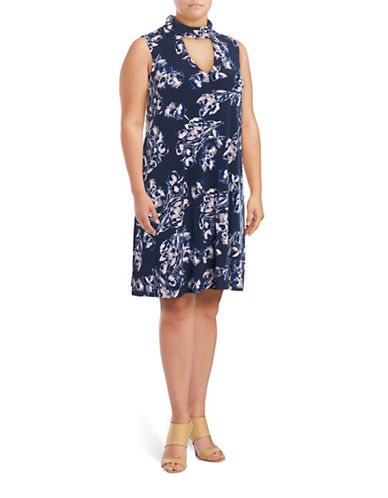 Ivanka Trump Mock Neck Shift Dress-NAVY FLORAL-2X