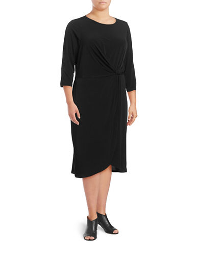 Ivanka Trump Knotted Waist A-Line Dress-BLACK-16W
