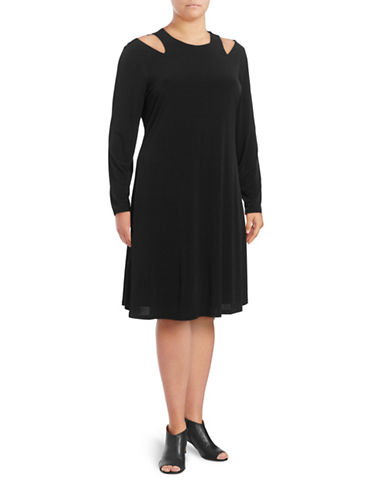 Ivanka Trump Cold Shoulder Shift Dress-BLACK-2X