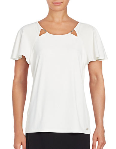 Ivanka Trump Metallic Accented Cutout Tee-WHITE-Large