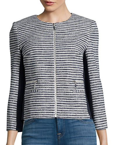 Ivanka Trump Striped Zip Front Jacket-WHITE-12