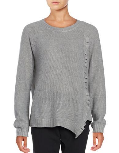 Ivanka Trump Crewneck Ruffled Asymmetrical Sweater-GREY-X-Large 88937414_GREY_X-Large