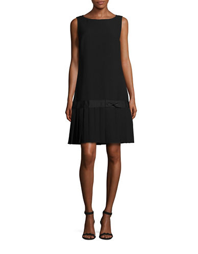 Karl Lagerfeld Paris Crepe Dress with Pleated Hem-BLACK-10