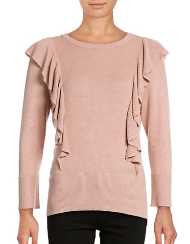 Ivanka Trump Ruffled Pullover Sweater-GREY-Medium 88842558_GREY_Medium