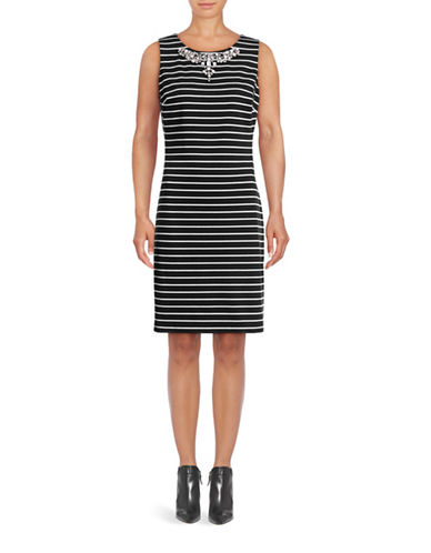 Tommy Hilfiger Jeweled Neck Knit Shift Dress-BLACK/IVORY-10