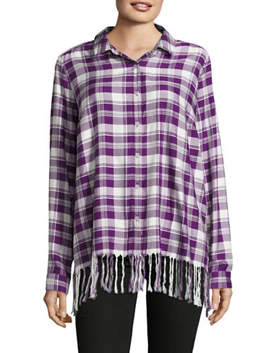 G.H. Bass & Co. Fringed Plaid Boyfriend Shirt-PURPLE-Medium