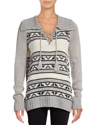 G.H. Bass & Co. Lace-Up Tunic Sweater-GREY-Large 88795106_GREY_Large