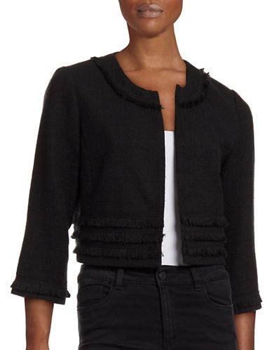 Karl Lagerfeld Paris Fringed Jacket-BLACK-Small