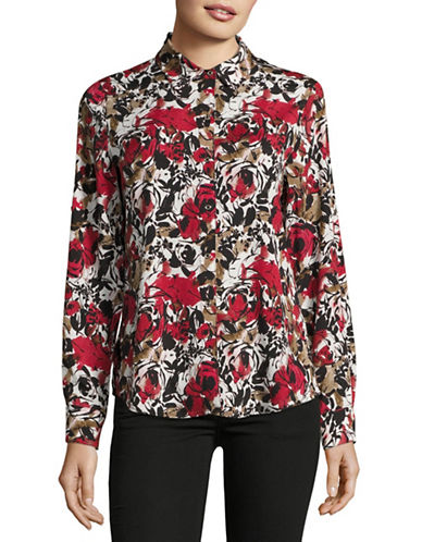 Karl Lagerfeld Paris Floral Printed Blouse-MULTI-Large