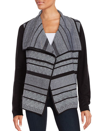 Ivanka Trump Geometric Flyaway Cardigan-BLACK-Small