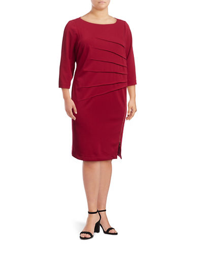 Ivanka Trump Sunburst Zip Sheath Dress-RUBY RED-14W
