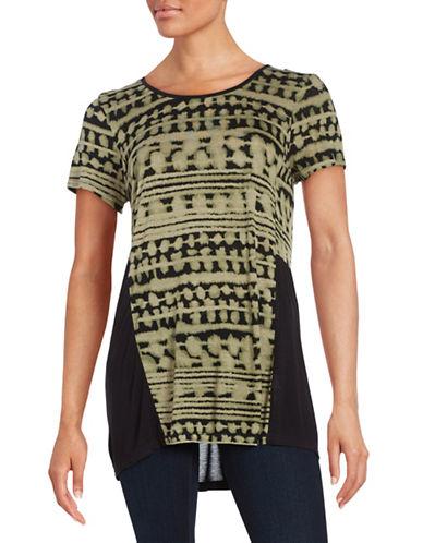 Kensie Tie Dye Paneled Tee-GREEN-Large 88468283_GREEN_Large