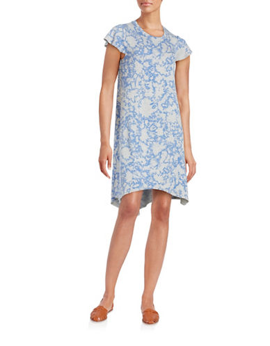 Kensie Hi-Lo Tie Dye Shirt Dress-BLUE-X-Large