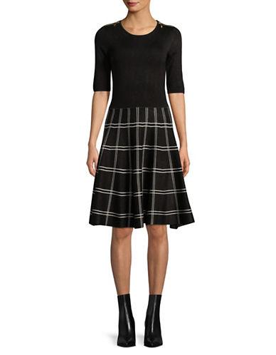 Ivanka Trump Zip Shoulder Check Dress-BLACK/IVORY-Medium