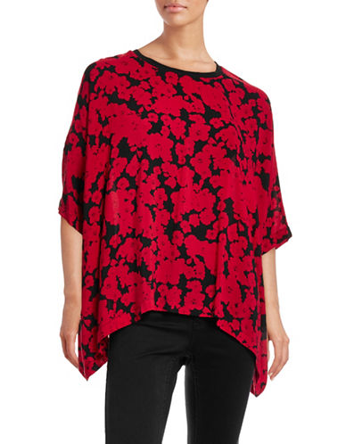 Kensie Floral Woven Boxy T-Shirt-RED-Medium