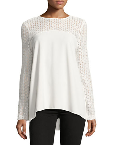 Kensie Lace Long-Sleeved Top-WHITE-X-Large 88702454_WHITE_X-Large