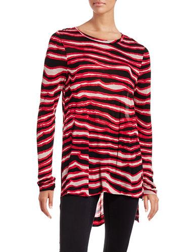 Kensie Printed Long Sleeve Step-Hem T-Shirt-RED-Medium 88608082_RED_Medium