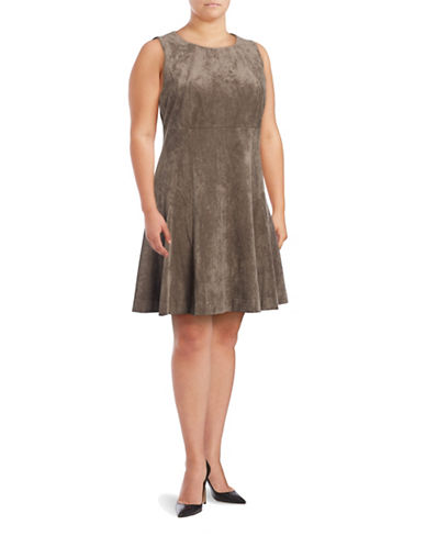 Ivanka Trump Panelled Faux Suede Fit-and-Flare Dress-TAUPE-14W