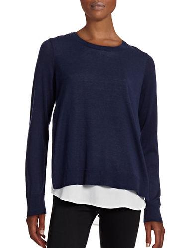 G.H. Bass & Co. Rib Neck Two-Layer Sweater-BLUE-Medium 88602180_BLUE_Medium