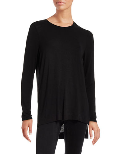 Kensie Long Sleeve Step-Hem T-Shirt-BLACK-X-Small 88608070_BLACK_X-Small