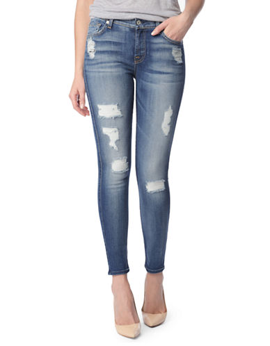 7 For All Mankind Distressed Skinny Ankle Jeans-LIGHT BLUE-32