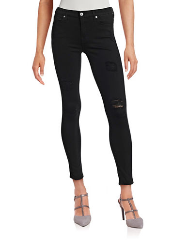 7 For All Mankind Destructed Ankle Skinny Jeans-BLACK-29