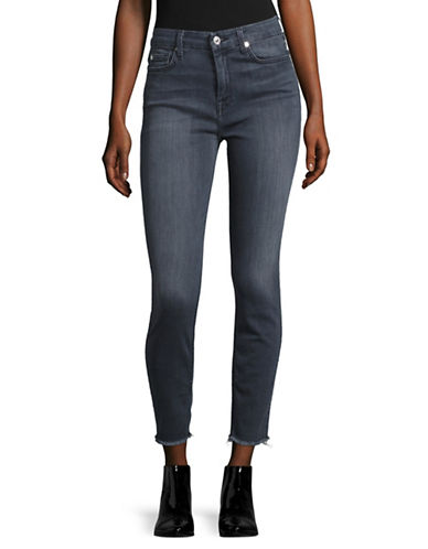 7 For All Mankind High-Waisted Ankle Skinny Ripped Jeans-GREY-27