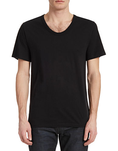 T By Alexander Wang Low Crew Neck T-Shirt-BLACK-Medium