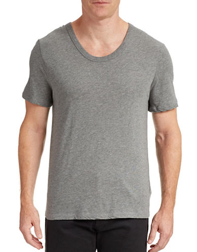 T By Alexander Wang Low Crew Neck T-Shirt-HEATHER GREY-Small 87723461_HEATHER GREY_Small