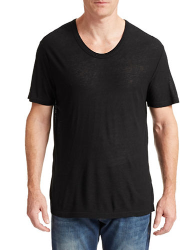 T By Alexander Wang Low Neck Silk Blend T-Shirt-BLACK-X-Small